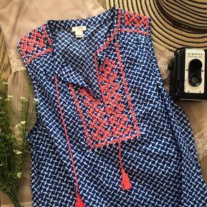J. Crew Embroidered Blue Print Tassel Tunic Sz 12